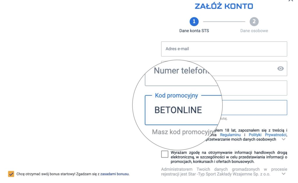 STS kod promocyjny na bonus bez depozytu
